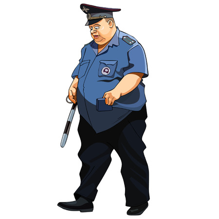 fat man in a police uniform traffic police Vector