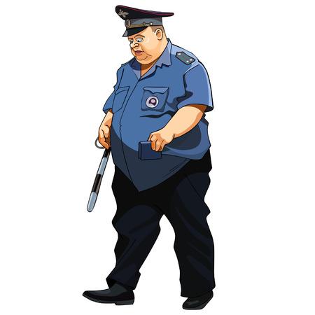 policia caricatura: hombre gordo con uniforme de policía policía de tráfico