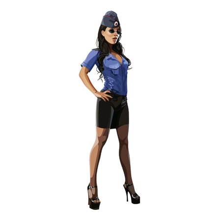 beautiful sexy woman in police uniform blouse, skirt and garrison cap Illustration