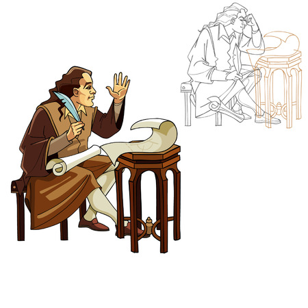 scribe: Medieval man with a pen and scrolls