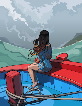 rear view girl: beautiful girl with long hair sitting in a boat, rear view Illustration