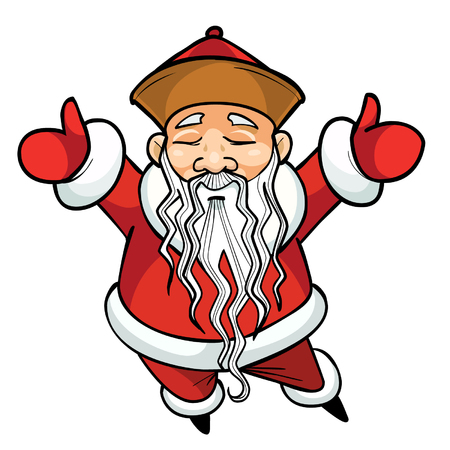 arms raised: cartoon Chinese Santa Claus standing with his arms raised