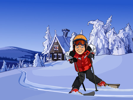 hobby hut: cartoon skier in the snowy mountains with a hut