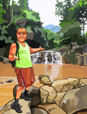 cartoon surprised man with a backpack standing near a waterfall on the rocks Vector