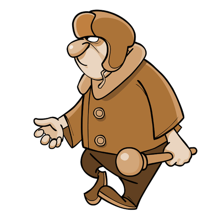 padded: cartoon angry man in a padded jacket and a fur hat with a club