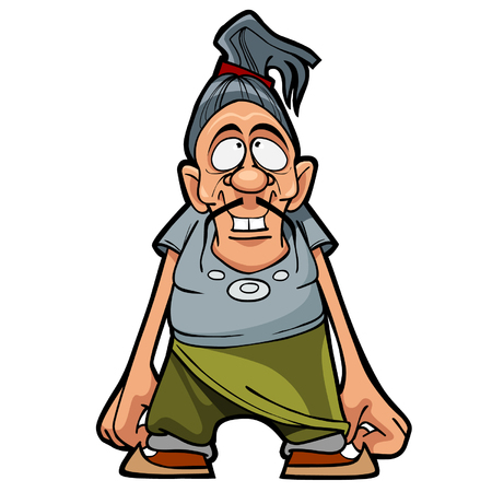 hair tied: cartoon character funny man with a mustache and hair tied in a ponytail Illustration