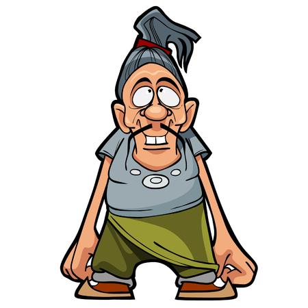 cabelo amarrado: personagem de desenho animado engra�ado homem com um bigode e cabelo preso em um rabo de cavalo