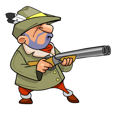 cartoon hunter in a hat with a feather, holding the gun