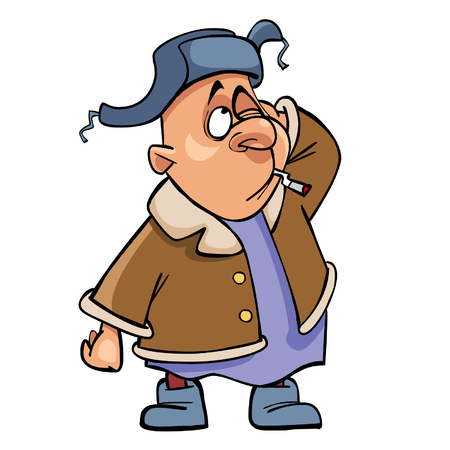 cartoon man in a fur hat and valenoks, scratching his head while standing with a cigarette in his mouth