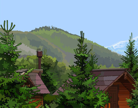 wooden houses: wooden houses in the firs mountains in the background