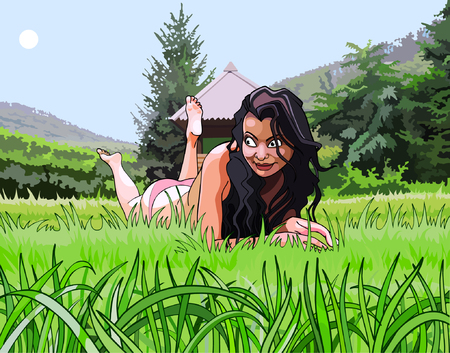 woman lying down: cartoon beautiful girl resting on the grass
