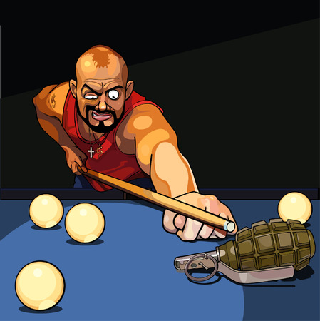 cartoon gangster man playing billiards, tries to target a grenade
