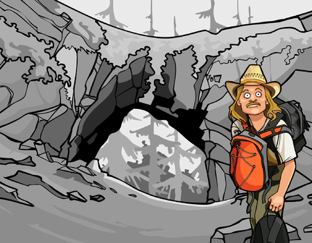 stone arch: cartoon man tourist with a backpack and a hat around the stone arch Illustration