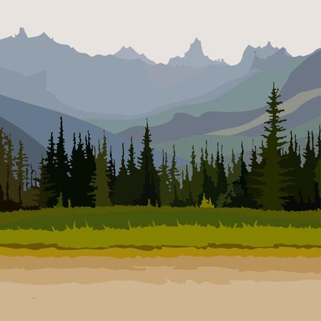 풍경 도로, 백그라운드에서 침엽수 숲 산