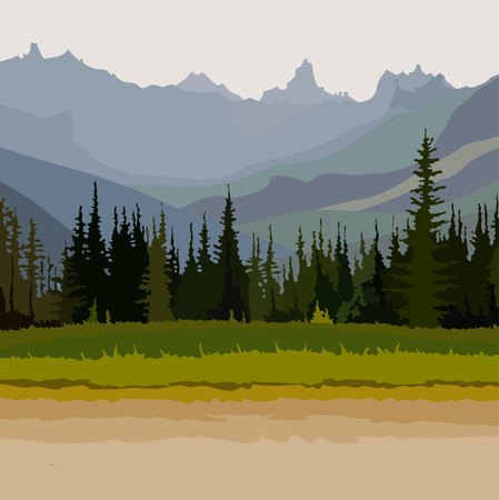 landscape road, coniferous forest mountains in the background Illustration