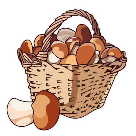 Basket with mushrooms Vector Illustration