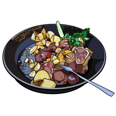 frying: frying pan with fried potatoes and meat