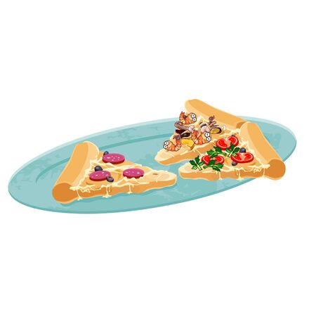 plate: pizza slices on a plate Illustration