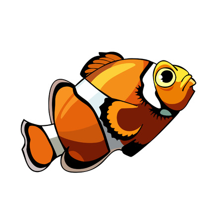 clown fish: cartoon orange fish with white stripes, clown fish Illustration