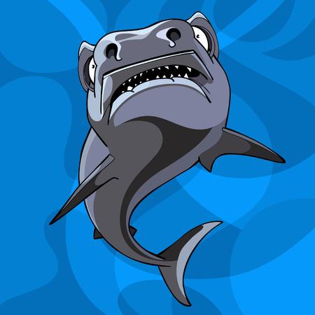 vile: cartoon shark underwater Illustration