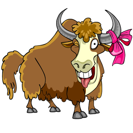 funny ox: Cartoon bison with a bow on the horn winks and shows tongue