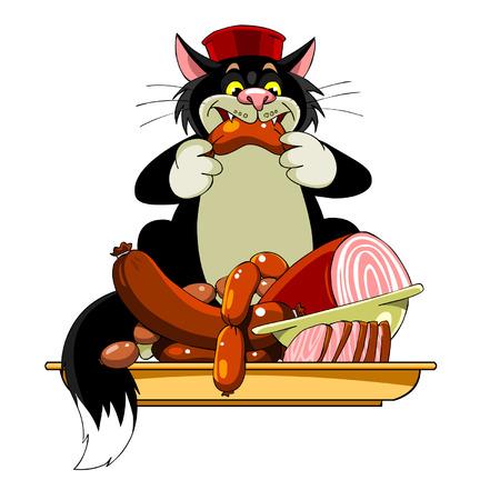 eats: cartoon black cat in the hat eats sausage Illustration