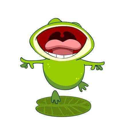 cartoon kikker op een blad met een open mond