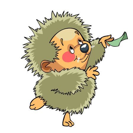 character traits: cartoon funny hedgehog dancing Illustration