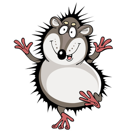 character traits: Cartoon funny hedgehog jumping Illustration