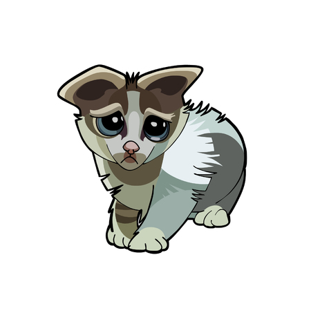 sullen: cartoon kitten unhappy