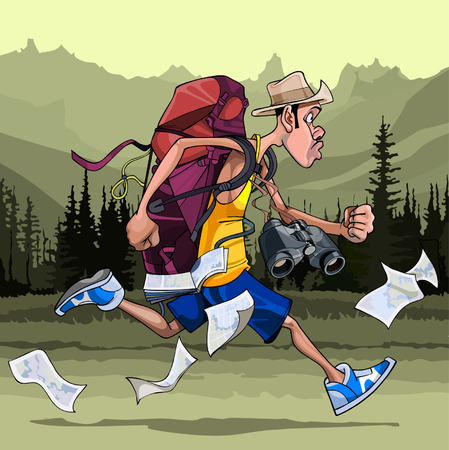 runs: cartoon man tourist with a backpack, binoculars and maps, fast runs Illustration