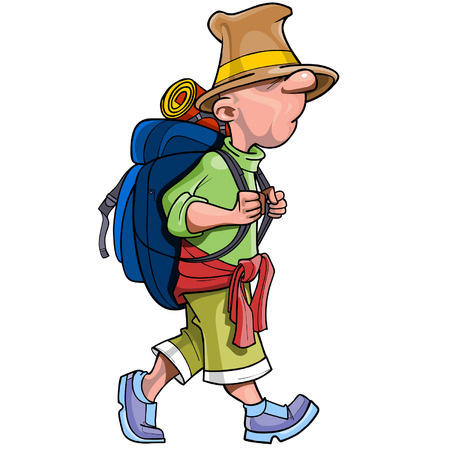 cartoon funny man tourist with a backpack going