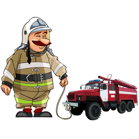fire engine: cartoon firefighter with fire engine Illustration