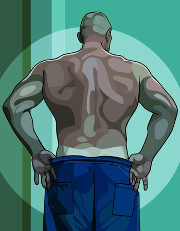male athlete: large male athlete view from the back