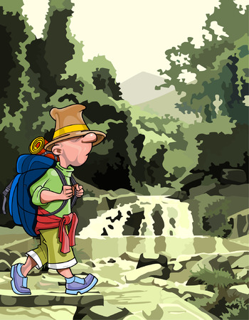 cartoon tourist with a backpack walking through the forest Vector