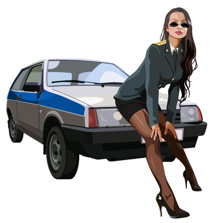 against: woman in police uniform leaned against the car Illustration