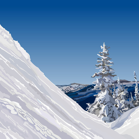 slope: snow slope with trees in the mountains