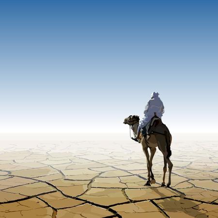 사막을 통과하는 낙타 남자