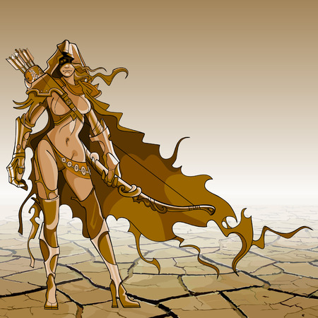 donna guerriero con arco e freccia nello stile di fantasia, in piedi nel deserto
