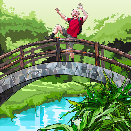 fooling: cartoon guy with a backpack, fooling around on the decorative bridge in the park