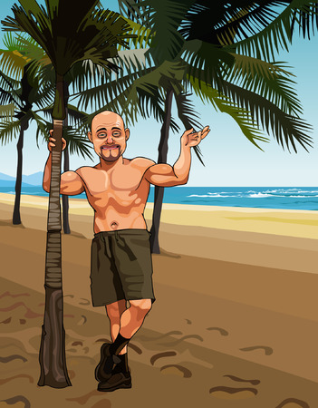 bald cartoon: cartoon smiling bald man in shorts on a sandy beach with palm trees