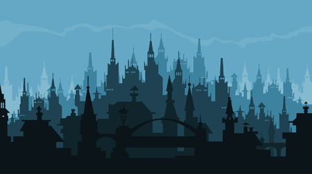 gothic style: European city silhouette of buildings in gothic style Illustration