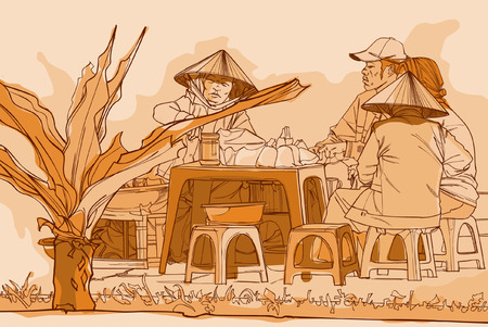 Vietnamese lunch on the street, drawing in graphic style