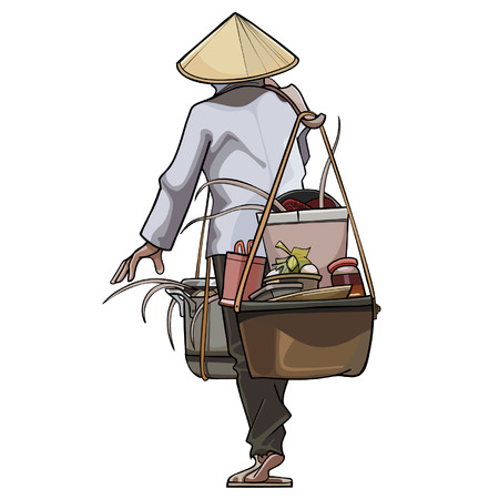 conical: Vietnamese trader comes with pots on the beam