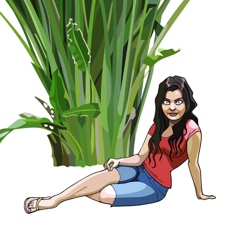 sits: cartoon girl sits under a green tropical plant