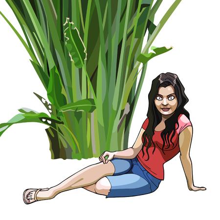 plante tropicale: fille de bande dessin�e se trouve sous une plante tropicale vert