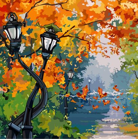 autumn park: cartoon street lights in the autumn park