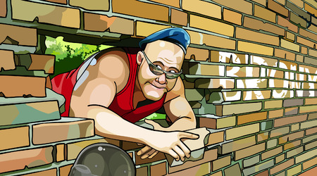 big guy in the blue beret looks out of a broken brick wall Vector
