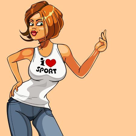 cartoon beautiful girl fitness
