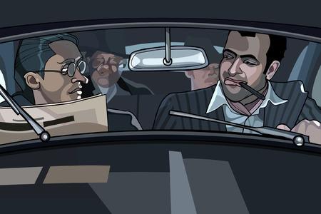 차에 만화 남성 갱